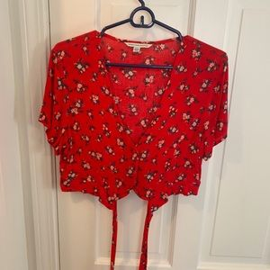 Red flower crop top